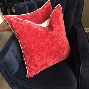 Pair of cranberry velvet pillows